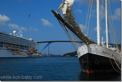 "Links liegt das Kreuzfahrtschiff ""Norwegian Sun"""